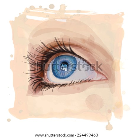 Vector drawing of the girl's eyes on watercolor background - stock vector