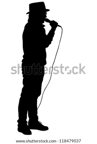 Vector drawing of the singer wearing a hat and a microphone - stock vector