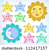 Vector drawing of the Sun, Moon and stars on the light color background. - stock vector