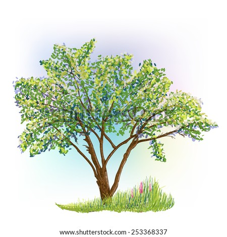 vector drawing of tree with grass and flowers - stock vector