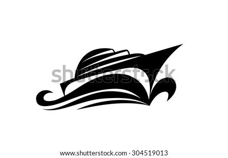 Vector drawing of yachting emblem for nautical tourism and yachting design. Yacht on waves. Symbols, logo and icon. - stock vector