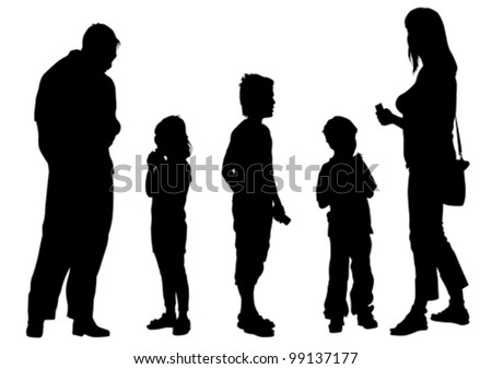 Vector drawing parents and child - stock vector