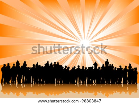 Vector drawing silhouette crowds and sun - stock vector