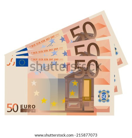 Vector drawing stylized 50 Euro bills  - stock vector