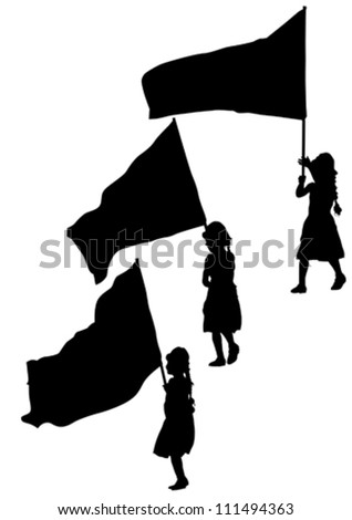Vector drawing young girl and flags - stock vector