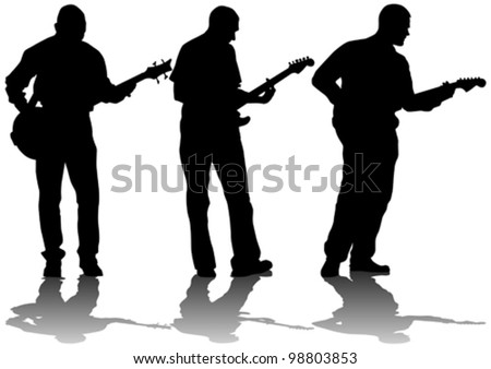 Vector drawing young man and guitarist - stock vector