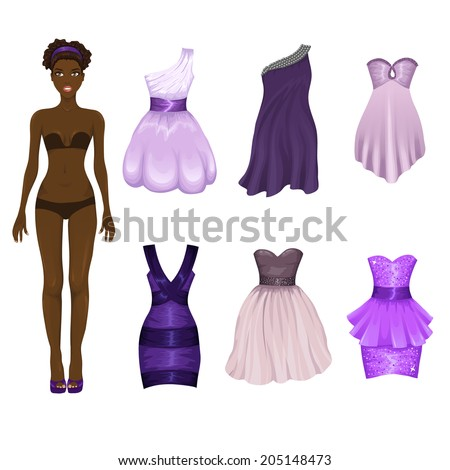 Vector dress-up doll with an assortment of purple prom and cocktail dresses - stock vector