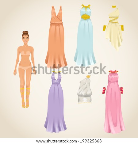 Vector dress-up paper doll model with and assortment of greek dresses - stock vector