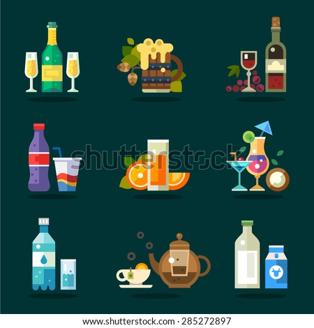 Vector drink icon set. Variety of flat serving beverages in ware  - stock vector