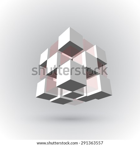 Vector, 3Ds cubics pattern,  EPS files with high flexibility. You can create your own by remove some block out. - stock vector