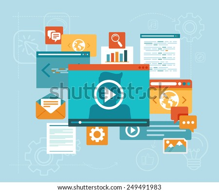 Vector e-learning concept in flat style - digital content and online webinar icons - stock vector