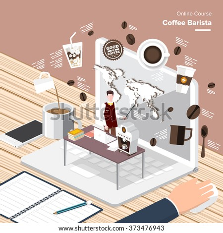 Vector e-learning concept in flat style - digital content coffee barista.electronic learning process, awards winning and knowledge elements.  - stock vector