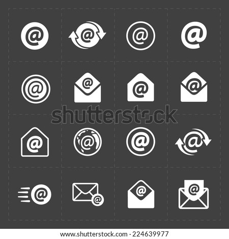 Vector E-mail icons on Dark Background. - stock vector