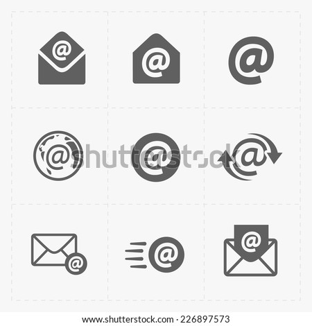 Vector E-mail icons on White Background. - stock vector