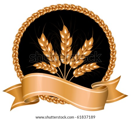 Vector. Ears of wheat on black background. - stock vector