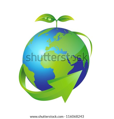 vector earth and green plant. ecology concept. - stock vector