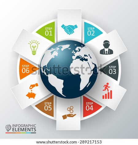 Vector earth for infographic. Template for diagram, graph, presentation and chart. Business concept with 6 options, parts, steps or processes. Abstract background. - stock vector