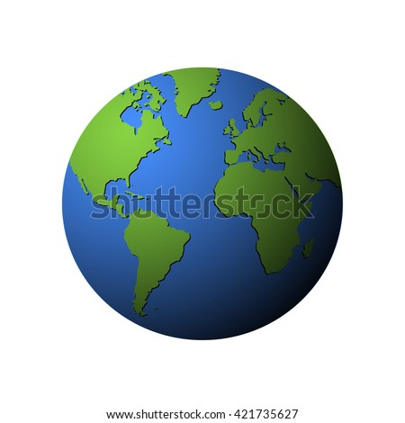 Vector earth globe isolated on white. Vector Earth globe with green continents. Green continents on earth globe. - stock vector