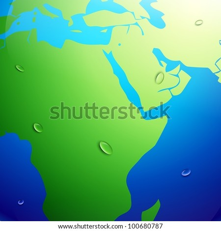 vector earth map with global warming effect - stock vector