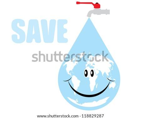 Vector earth water drop - stock vector
