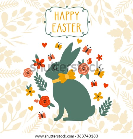"""Vector Easter background with cute Easter bunny, floral elements, frame and text """"Happy Easter"""". Bright childish holiday card with Easter rabbit. - stock vector"""