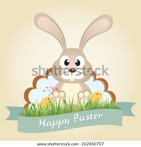 Vector Easter bunny with chicks. Happy Easter. Vector - stock vector