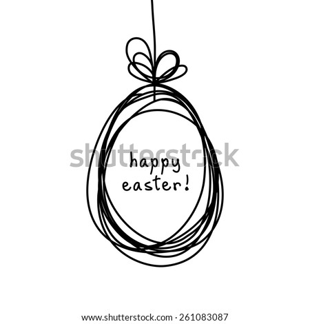 Vector Easter card. Egg doodle background. Cute hand drawn childish invitation, greeting card. Holiday linear illustration for print, web - stock vector