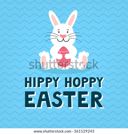 """Vector Easter card with cute rabbit, chocolate egg and text """"Hippy hoppy Easter"""" on the blue background. Childish holiday background with smiling cartoon character. - stock vector"""