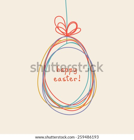 Vector Easter egg doodle background. Cute hand drawn childish invitation, greeting card. Holiday linear illustration for print, web - stock vector