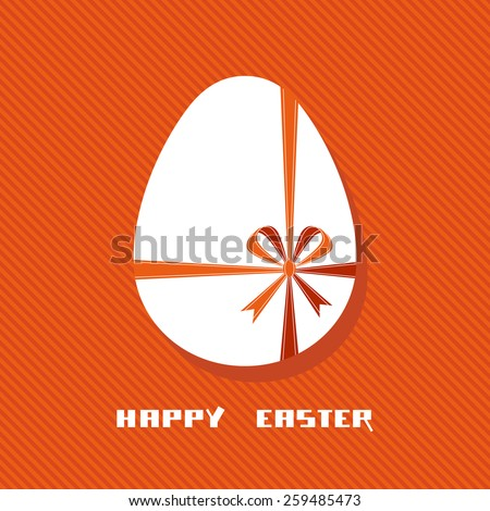Vector Easter egg with red ribbon and bow. Cute design element. Decorative illustration for print, web - stock vector