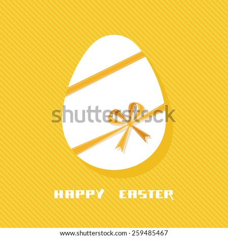 Vector Easter egg with ribbon and bow. Cute design element. Decorative golden illustration for print, web - stock vector