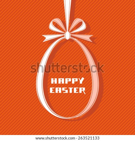 Vector Easter tag. Egg banner from red ribbon and bow. Festive background. Decorative illustration for print, web - stock vector
