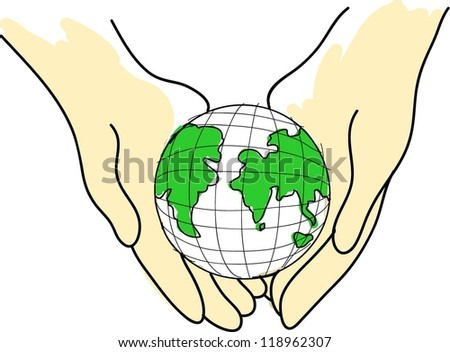 Vector eco design Earth protection concepts,Earth globe in hands protected. - stock vector