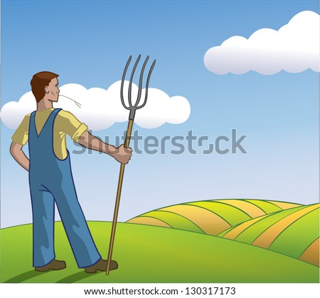 Vector eco farmer looking at his field after a hard days work - stock vector