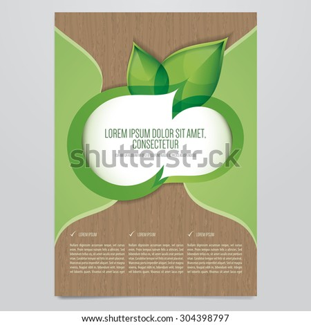 Vector Eco flyer, poster, brochure, magazine cover template.  - stock vector