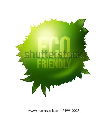 Vector eco friendly label. Green ball with grass and foliage. Healthy food product design elements. - stock vector