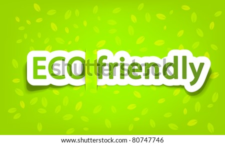 vector eco friendly; realistic cut, takes the background color - stock vector