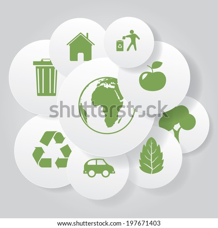 Vector eco icons in circle frames. - stock vector