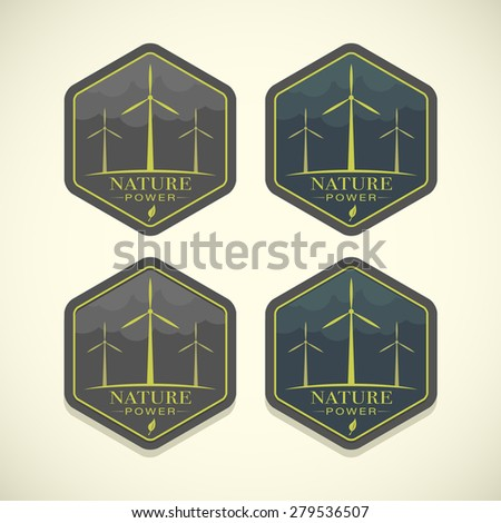 Vector eco icons of wind turbines, nature power concept  - stock vector