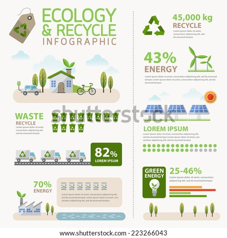 Vector Ecology and Recycle Infographic concept - stock vector