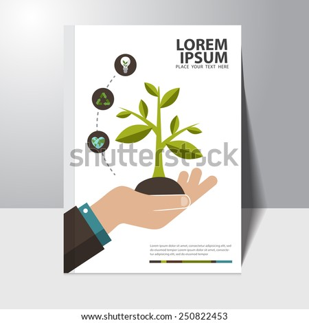 Vector ecology concept book cover design template - stock vector