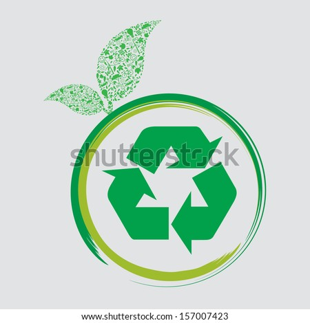 Vector ecology concept - leaf design  - stock vector