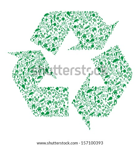 Vector ecology concept - recycled  design   - stock vector