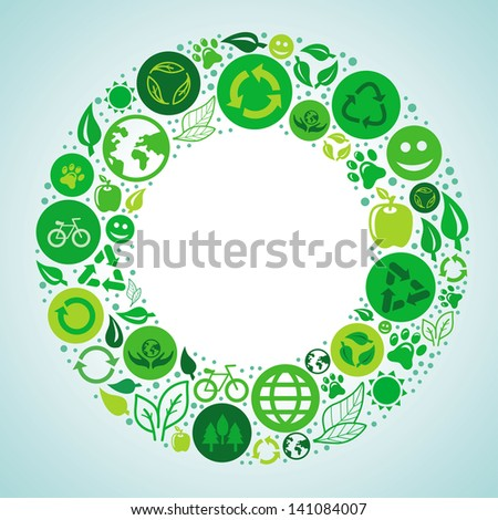 Vector ecology concept - round design element made from icons and signs - stock vector