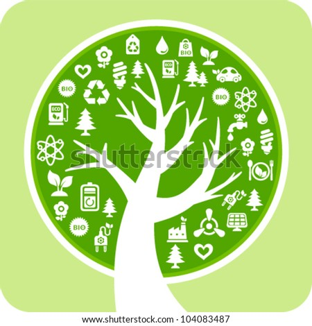 Vector ecology concept with styled tree and eco icons - stock vector