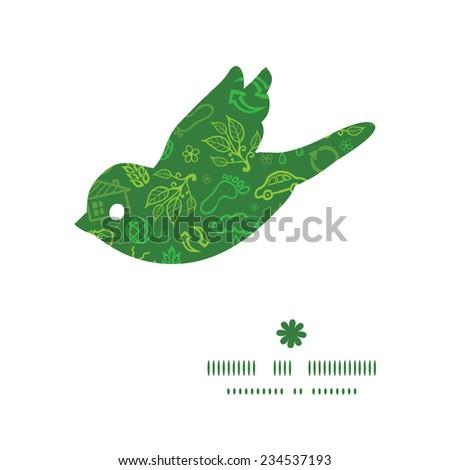 Vector ecology symbols bird silhouette pattern frame - stock vector
