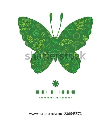 Vector ecology symbols butterfly silhouette pattern frame - stock vector