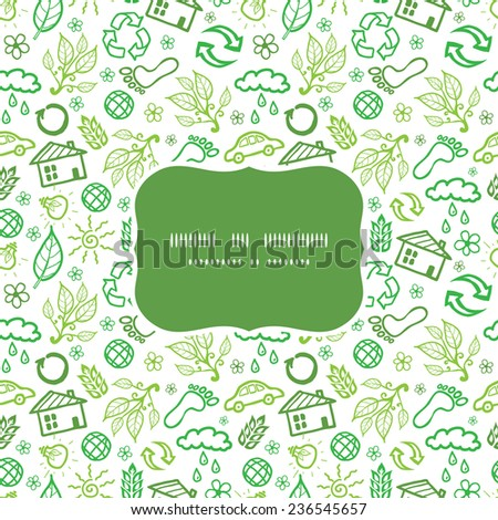 Vector ecology symbols frame seamless pattern background - stock vector