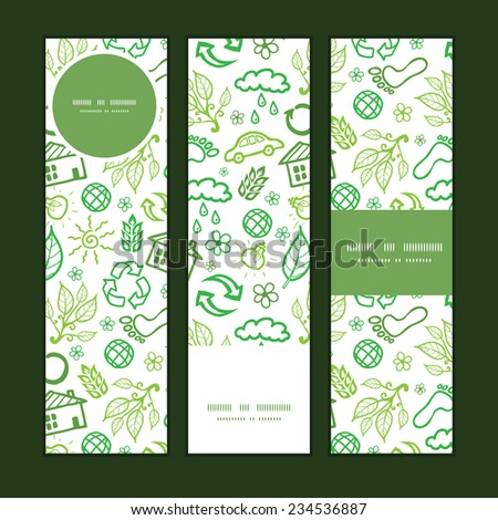 Vector ecology symbols vertical banners set pattern background - stock vector