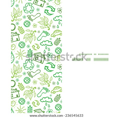 Vector ecology symbols vertical frame seamless pattern background - stock vector